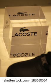 "CIRCA MARCH 2014 - BERLIN: the logo of the brand ""Lacoste"", Berlin."