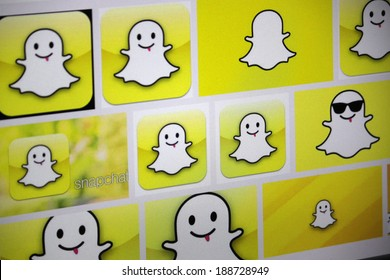 "CIRCA MARCH 2014 - BERLIN: the logo of the brand ""Snapchat""."