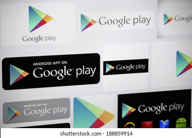 "CIRCA MARCH 2014 - BERLIN: the logo of the brand ""Google Play""."