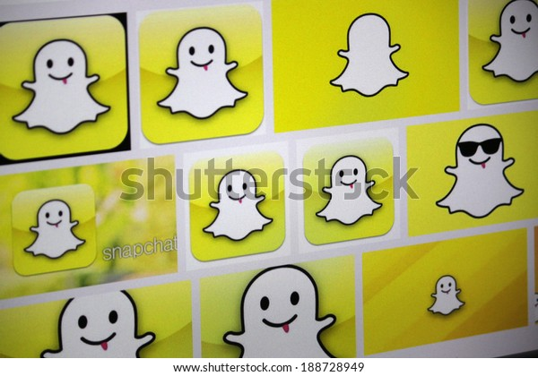 """CIRCA MARCH 2014 - BERLIN: the logo of the brand """"Snapchat""""."""
