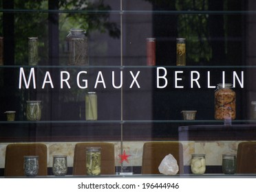"""CIRCA MAY 2014 - BERLIN: the logo of the exclusive restaurant """"""""Margaux"""" in the Mitte district of Berlin."""