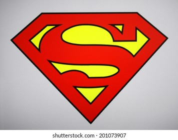 "CIRCA MAY 2014 - BERLIN: the logo of the superhero comic figure ""Superman""."