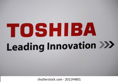 "CIRCA MAY 2014 - BERLIN: the logo of the brand ""Toshiba""."