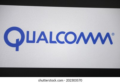 """CIRCA MAY 2014 - BERLIN: the logo of the brand """"Qualcomm""""."""
