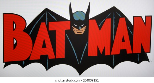 "CIRCA MAY 2014 - BERLIN: the logo of the superhero comic figure ""Batman""."