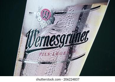"CIRCA MAY 2014 - BERLIN: the logo of the brand ""Wernesgruener""."