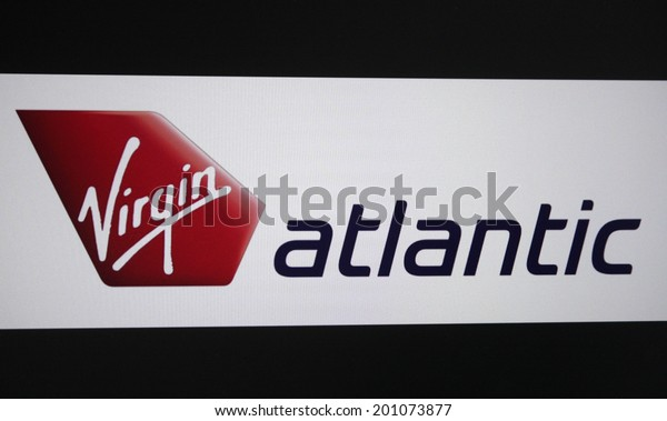 "CIRCA MAY 2014 - BERLIN: the logo of the brand ""Virgin Atlantic"", Berlin."