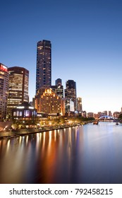 Circa November 2017,Melbourne Australia.Beautiful night scenery at Yarra River toward crown casino with light reflection on river water.Slow shutter shot.