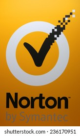 "CIRCA OCTOBER 2014 - BERLIN: the logo of the brand ""Norton by Symantec"", Berlin."