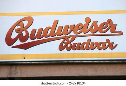 "CIRCA OCTOBER 2014 - BERLIN: the logo of the brand ""Budweiser Budvar"", Berlin."
