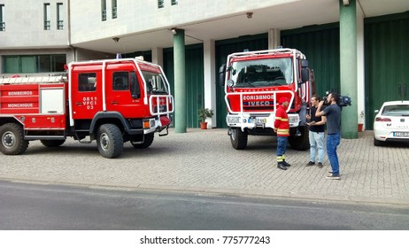 Circa October 2017, Algarve, Portugal.  Location at the Monchique Fire station. Fireman being