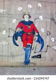 CIRCA SEPTEMBER 2012 - BERLIN: street art/ graffiti, Berlin-Mitte.