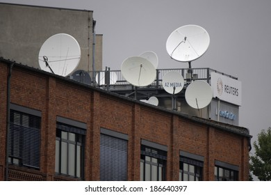 CIRCA SEPTEMBER 2013 - BERLIN: satellite dishes on top of the building of the news agency Reuters in Berlin.