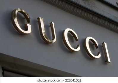 "CIRCA SEPTEMBER 2014 - BERLIN: the logo of the brand ""Gucci"", Berlin."
