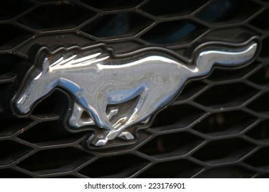 "CIRCA SEPTEMBER 2014 - BERLIN: the logo of the brand ""Ford Mustang"", Berlin."