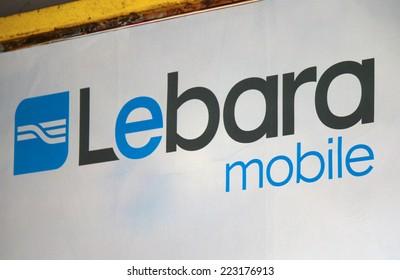 "CIRCA SEPTEMBER 2014 - BERLIN: the logo of the brand ""Lebara Mobile"", Berlin."