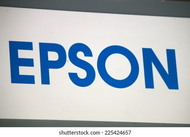 "CIRCA SEPTEMBER 2014 - BERLIN: the logo of the brand ""Epson"", Berlin."