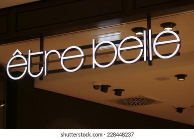 "CIRCA SEPTEMBER 2014 - BERLIN: the logo of the brand ""Etre Belle"", Berlin."