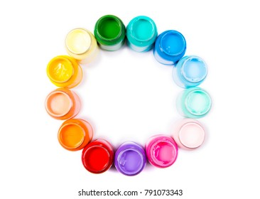 circle of acrylic colors palette of colors or pantone colors, circle formed of liquid colors for design, art and school