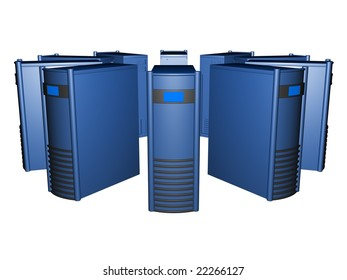 Circle of blue servers