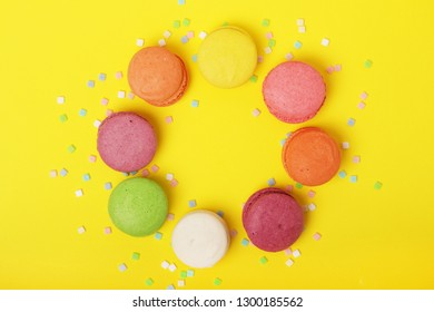 A circle of bright different macaroons