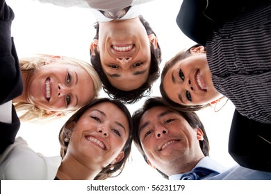 Circle of business people isolated over a white background