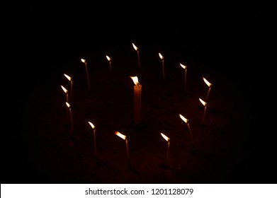 a circle of candles. witchcraft