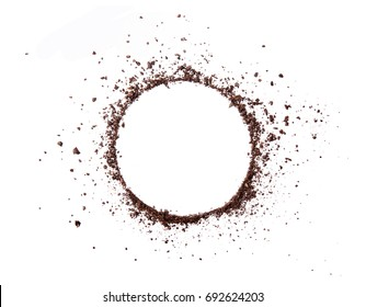 Circle coffee bean smashed powder craked and splash on white background top view