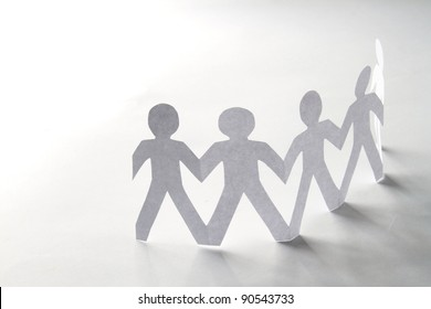 Circle of colorful people with clipping path