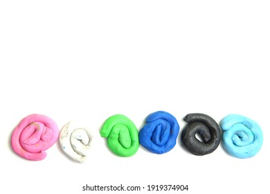Circle Colors Plasticine Play Dough Modeling Clay on White background