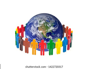 Circle of colourful people around the globe on white background. Earth photo provided by Nasa.