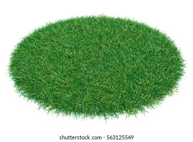 Circle covered with green grass. 3D rendering, isolated on white background. Empty space for your product or text