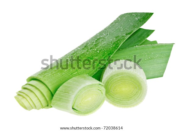 Circle cross-section and stem of green leek isolated on white