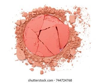 Circle crushed pink cosmetic powder