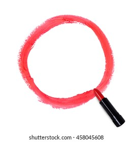 A circle drawn by a red lipstick on an isolated white background.
