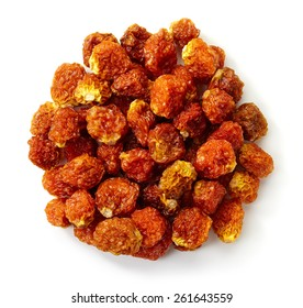 Circle of dried Cape gooseberries (physalis peruviana) isolated on white background
