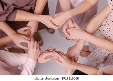 circle from female hands. Feminism nursing support concept. Together women help each other. Gently touch. Carefully. Partnership friends. Tactility. Offline communication togetherness. Gentle tones