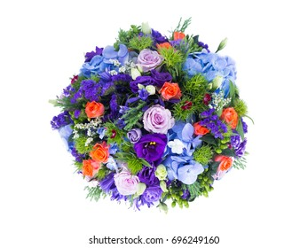 Circle of flowers of various kinds White background