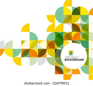 Circle geometric abstract background, colorful business or technology design for web on white with sample text