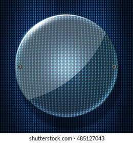 circle glossy glass with rivet on blue metallic mesh wall. 3d illustration background.
