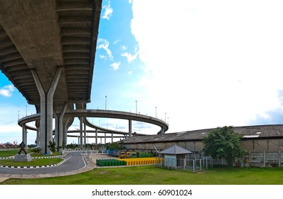 Circle highway of Bhumibol Bridge(Industrial Ring Road Bridge), Samut Prakarn,Thailand