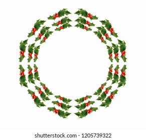 Circle of holly with red berries