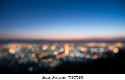 Circle light background bokeh with sunrise sky twilight time