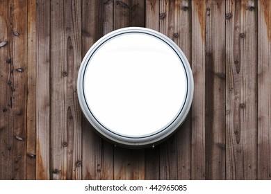 Circle Light box logo on wood wall