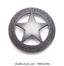 Circle Metal Concho Isolated on a White Background.