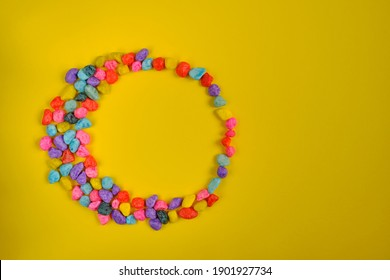 Circle of multi-colored stones for brochure