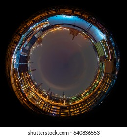 Circle panorama of urban city skyline, such as if they were taken with a fish-eye lens
