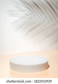 Circle pedestal on pastel background. Mockup for cosmetic, packaging product presentation, food or drink with tropical leaf shadow. Natural beauty podium in hard sunlight. Real photo shot. Vertical