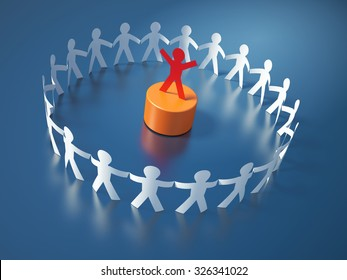 Circle of People Following the Leader - Teamwork Concept - High Quality 3D Render