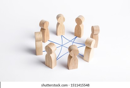 Circle of people interconnected by curves lines. cooperation, teamwork, training. Collaboration and cooperation, participation. Social connections, joining to solve tasks. Staff, community meeting